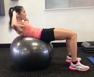 ab exercises for a flat and toned stomach - swiss ball ab curl