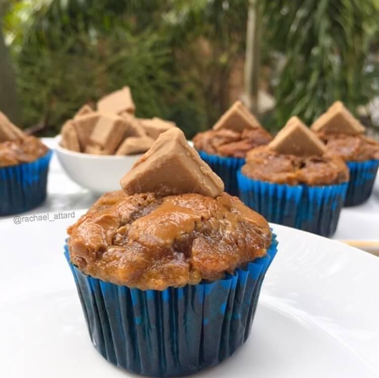 healthy caramel banana muffins