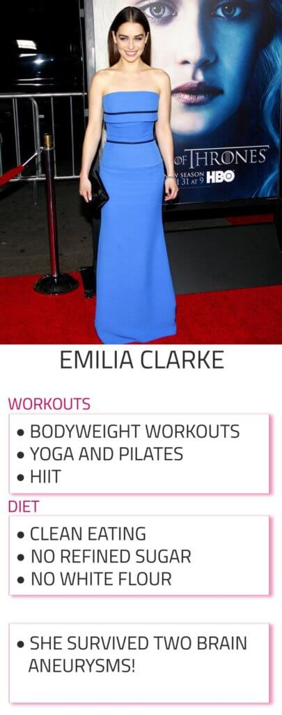 emilia clarke diet and workout routine