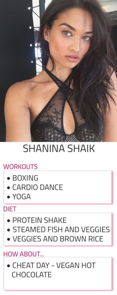 shanina shaik diet and workout routine