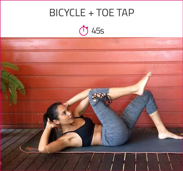 abs workout for women bicycle toe tap