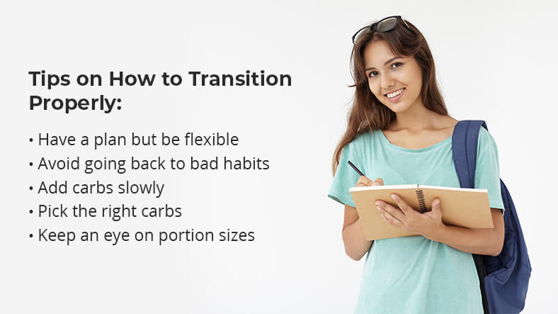 tips on how to transition from a low carb diet without gaining weight